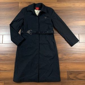 Cole Haan Black Belted Long Trench Coat Jacket